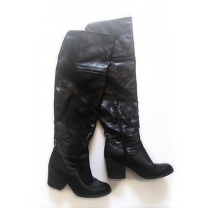 Black Over-the-Knee Tall Thigh-High Boots w/ Cuff